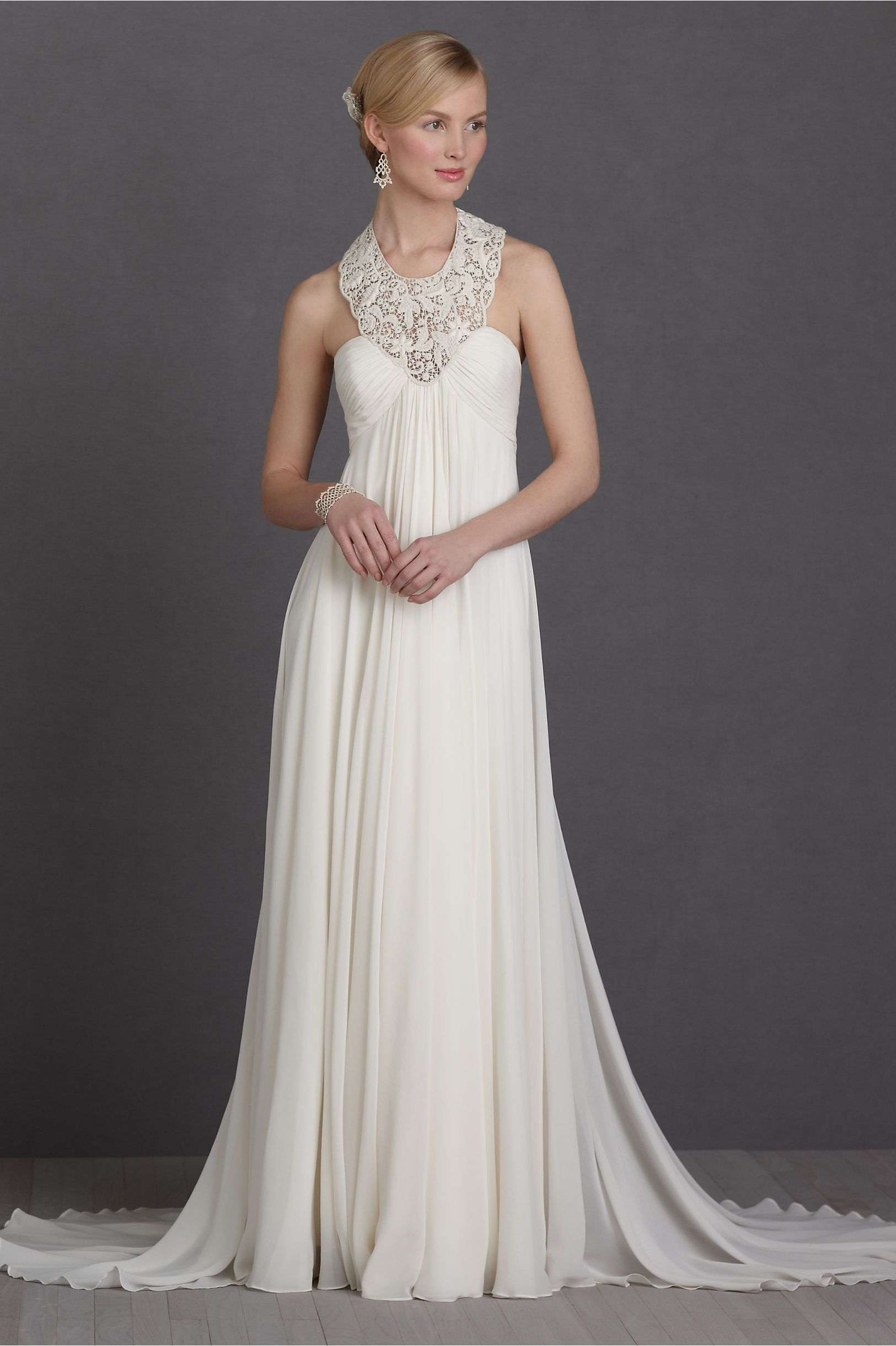 Blossoming Weir Gown, BHLDN. Chiffon, amazing lace collar.