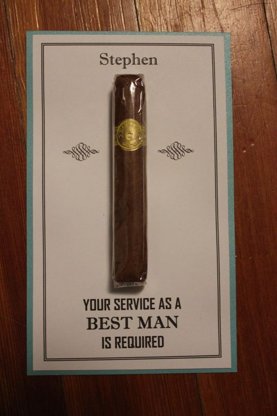 Will You Be My Groomsman Best Man Usher Junior Jr Groomsmen Cigar Card With Name