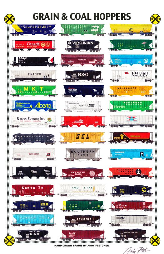 """Andy Fletcher Poster - An 11""""x17"""" poster with some of Andy Fletcher's hand drawings of railroad hoppers."""