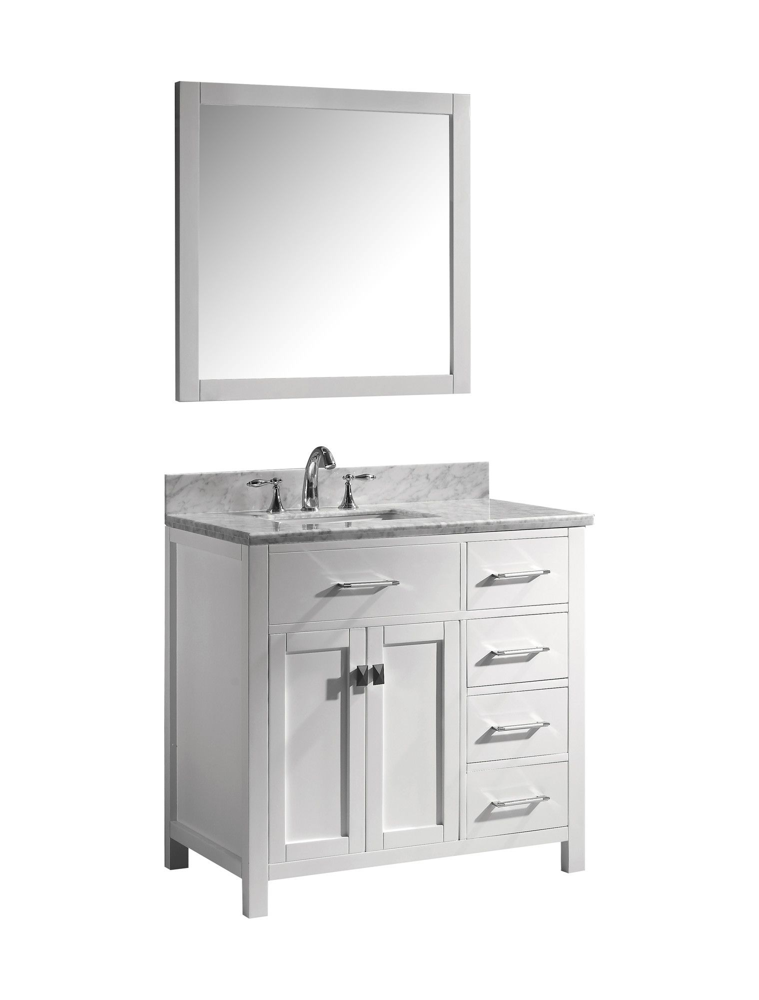 "Virtu Caroline Parkway 37"" Single Bathroom Vanity Set With Mirror Prepossessing Bathroom Cabinet Reviews Inspiration"