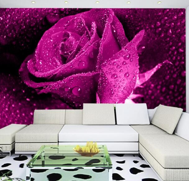 Find More Wallpapers Information about Custom Any Size Purple Rose ...