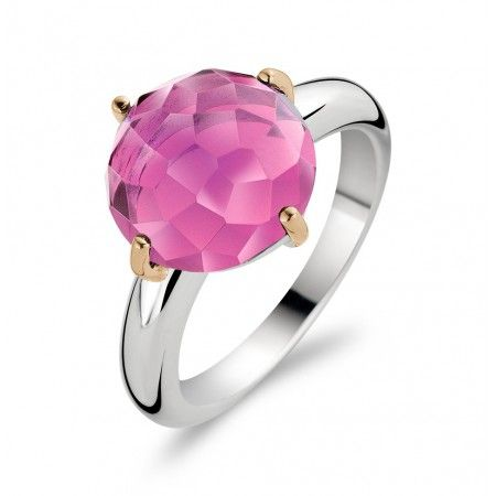 Fuchsia Pink Faceted Stone Ring