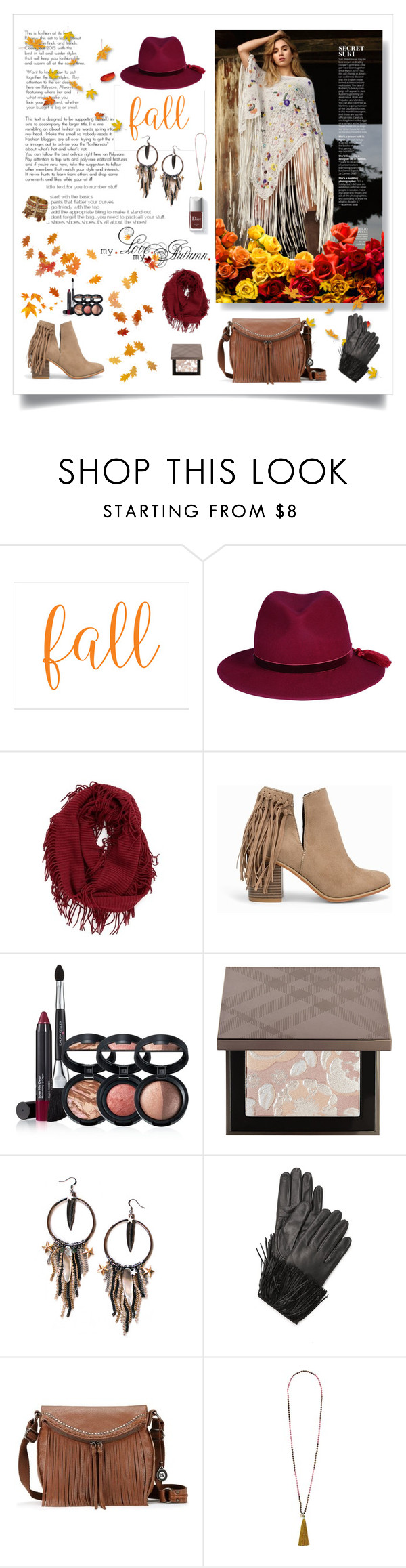 """On the Fringes of Fall"" by magnolialily-prints ❤ liked on Polyvore featuring BP., Nly Shoes, Laura Geller, Burberry, Maiden-Art, Diane Von Furstenberg, The Sak and French Connection"