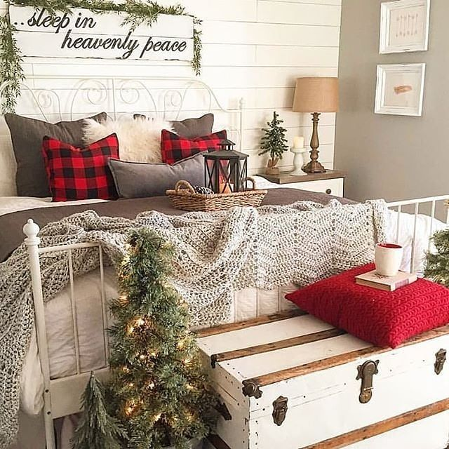 Top 37 Christmas Bedroom Decorations Ideas 2020 Page 25 Of 37 Newyearlights Com Christmas Decorations Bedroom Christmas Room Farmhouse Christmas Decor