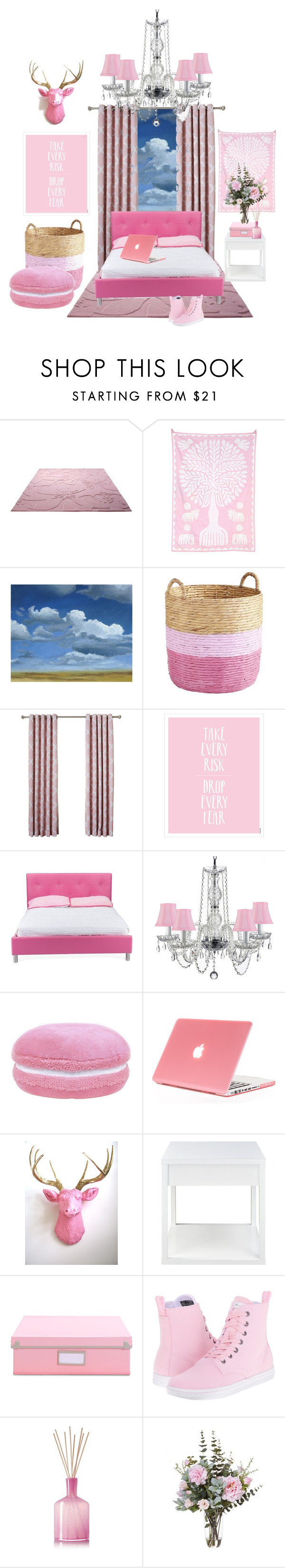 """Pretty in Pink"" by thegreenlife ❤ liked on Polyvore featuring interior, interiors, interior design, home, home decor, interior decorating, ESPRIT, Cultural Intrigue, Grandin Road and Pier 1 Imports"
