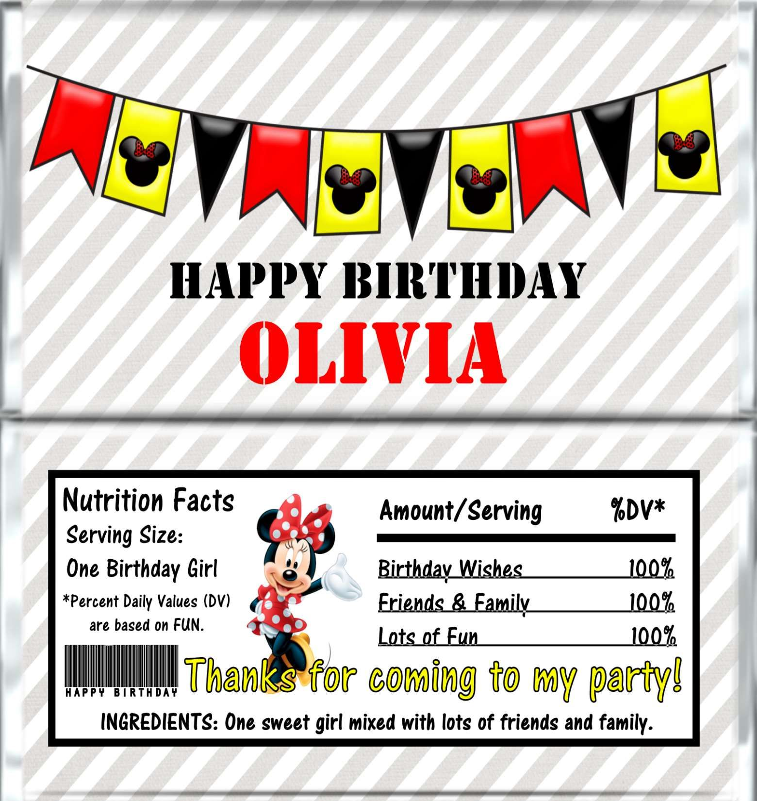 MINNIE MOUSE Candy Bar Wrappers - Birthday Chocolate Bar Favors ...