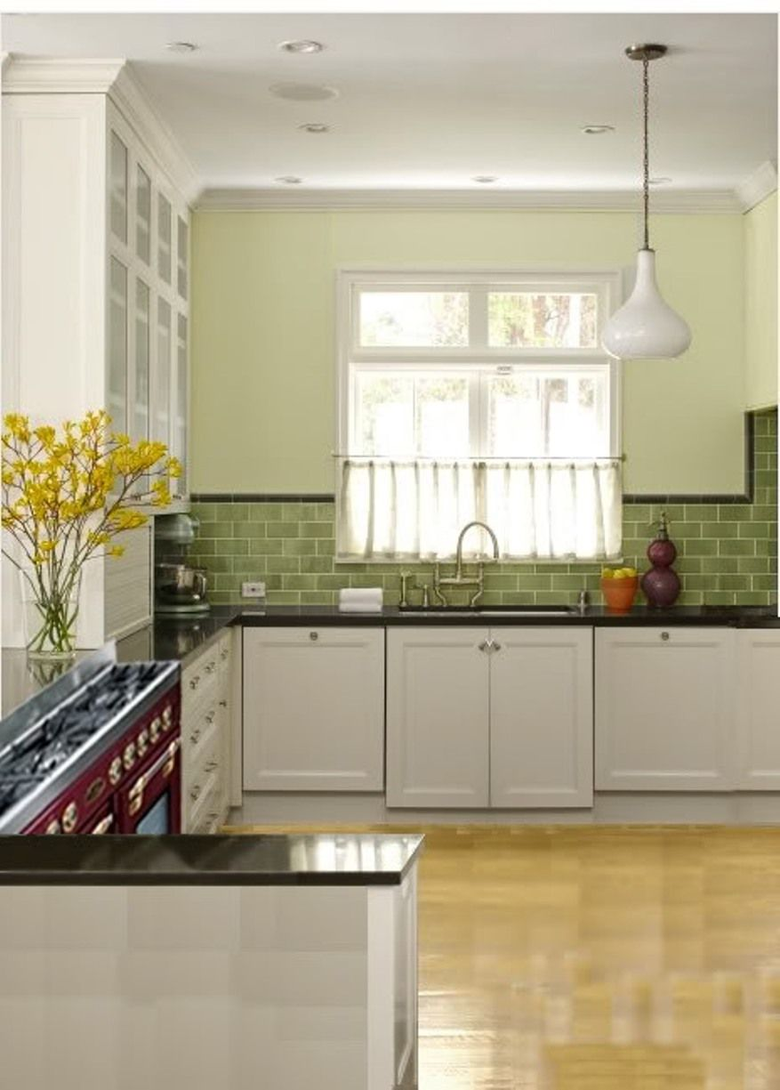 Sage Green Glass Subway Tile Kitchen With Quartz Countertop And