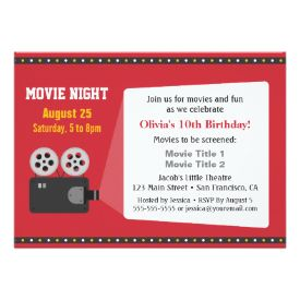 Film projector movie night birthday party 45x625 paper invitation film projector movie night birthday party 45x625 paper invitation card stopboris Choice Image