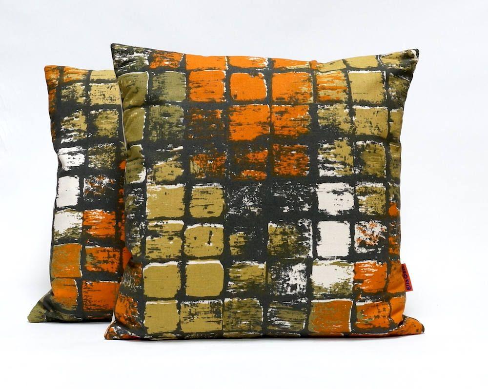 Pair Mid Century Pillow Covers Art Print Kompas Fabric Modern