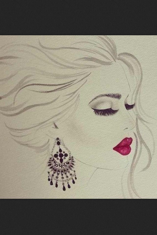 Makeup Drawing: Beautiful Drawing Of Makeup Look!