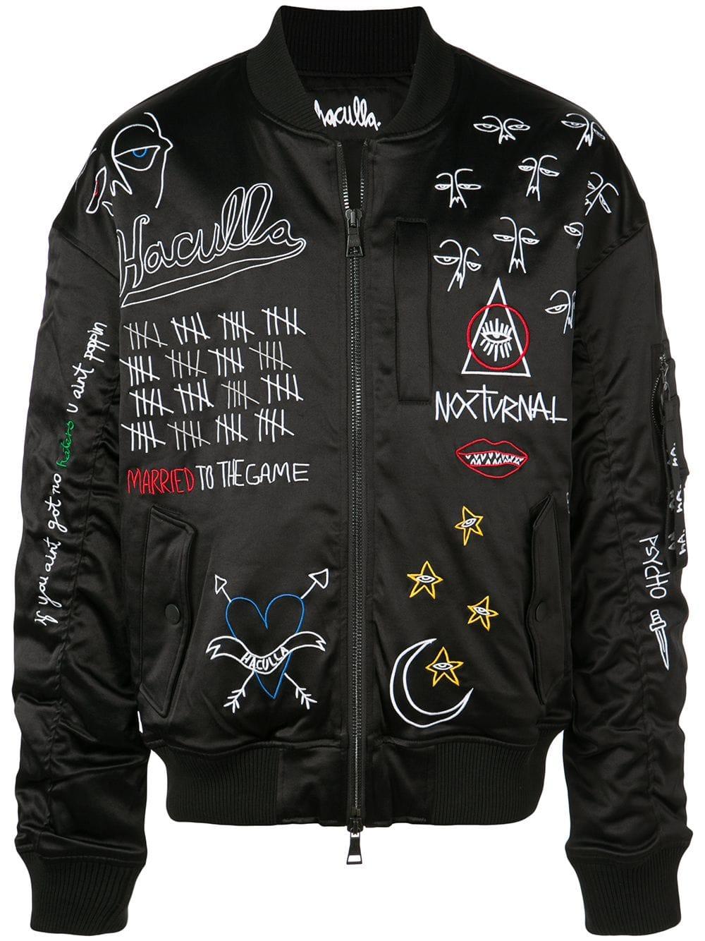 Haculla Nocturnal Bomber Jacket In Black Modesens Bomber Jacket Black Bomber Jacket Painted Leather Jacket [ 1334 x 1000 Pixel ]