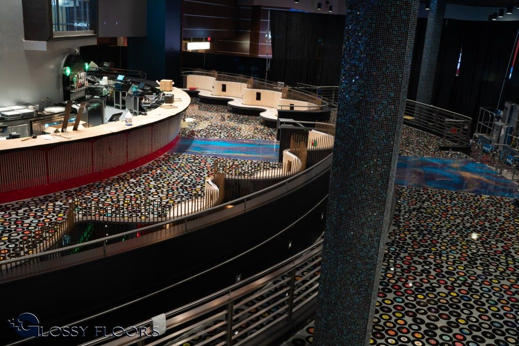 Epoxy Record Floor At The Hard Rock Hotel And Casino In Tulsa Ok Hard Rock Hotel House Styles Flooring