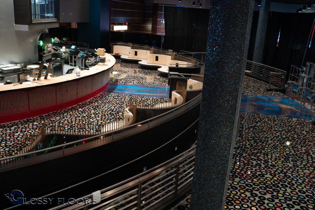 Epoxy Record Floor At The Hard Rock Hotel And Casino In Tulsa Ok Hard Rock Hotel House Styles Flooring