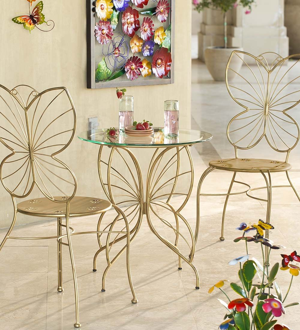 Butterfly Table Chairs Set Wind Weather Butterfly Table Bistro Table Set Decor [ 1100 x 1000 Pixel ]