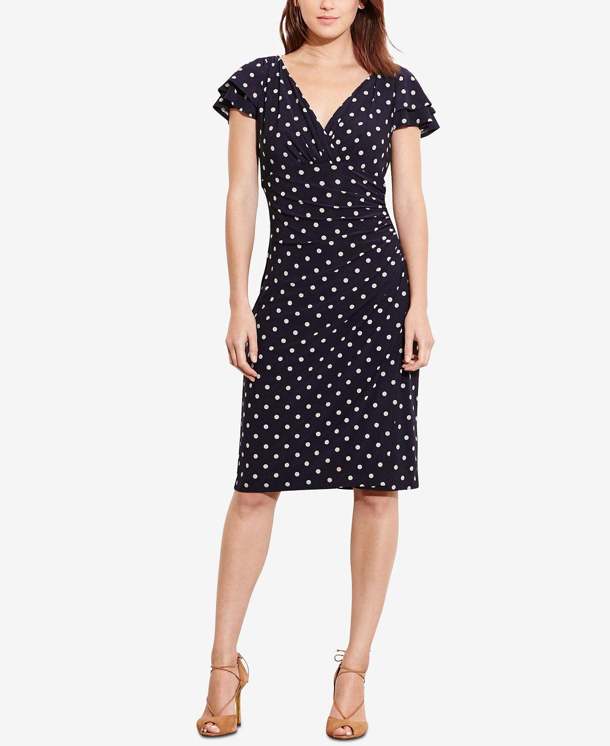 7e14b38ea6578 Lauren Ralph Lauren Dot-Print Flutter-Sleeve Dress - Dresses - Women -  Macy's