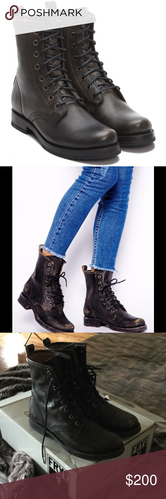 71cd42ef0 Frye Veronica Combat Boots All leather Frye Veronica Combat boots in black  stonewashed. Distressed look