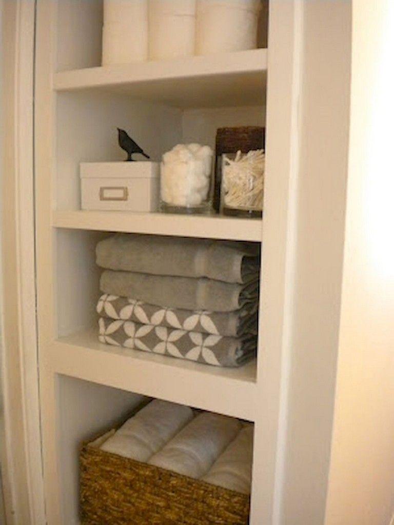 65 Beautiful Bathroom Storage Shelves Organization Ideas Hallway