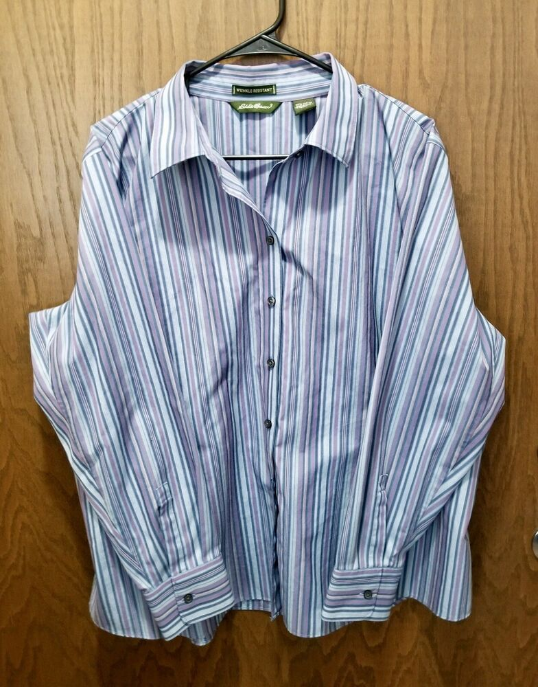 bb5338cc Eddie Bauer Women's Wrinkle Resistant Button Down Shirt Blue With Stripes  XXL | eBay