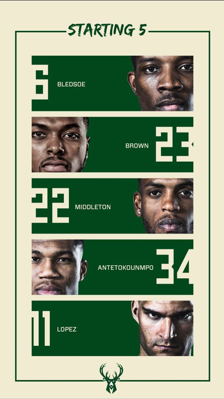 Milwaukee Bucks Starting Lineup For Game 2 In The First Round Milwaukee Bucks Nba Playoffs Milwaukee