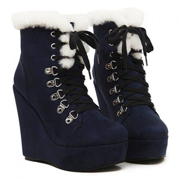 Stylish Wedge and Lace-Up Design Women's Short Boots, DEEP BLUE, 37 in Boots | DressLily.com