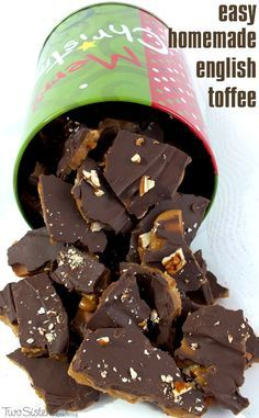 Homemade English Toffee is one of our favorite Christmas Desserts.  It's so delicious and so easy to make. (You won't need a candy thermometer to make this great Christmas Treat!)  It will become an instant family favorite and also makes a great Holiday Gift.  For more fun Christmas Food ideas follow us at http://www.pinterest.com/2SistersCraft/