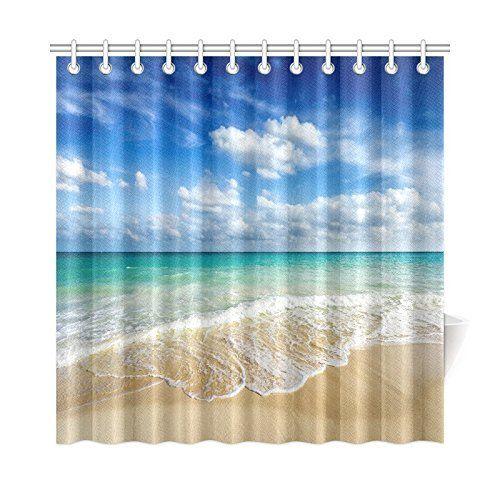 Summer Beach Blue Sea Palm Tree Waterproof Polyester Fabric