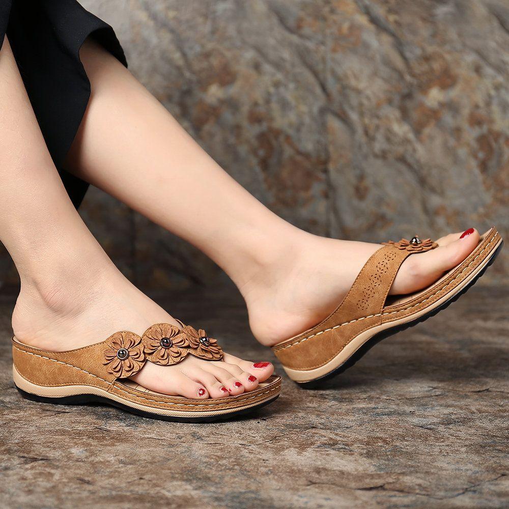 Womens Wedges Slipper Comfy Clip Toe Flip Flops Shoes Summer Beach Sandals
