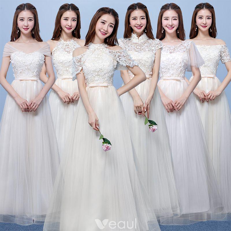 1c86fb2c06 Asequible Champán Traspasado Vestidos De Damas De Honor 2018 A-Line   Princess  Apliques Flor Bowknot Cinturón Largos Ruffle Sin Espalda Vestidos para bodas