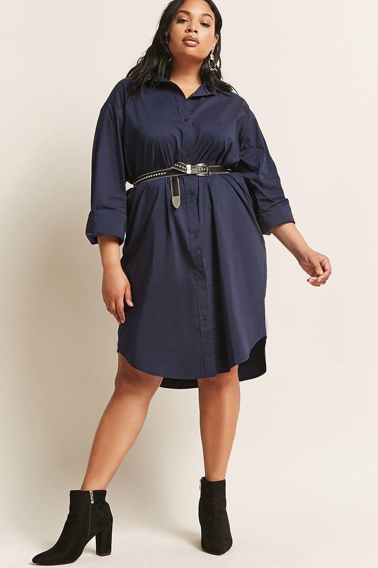 6c349f4c800 Plus Size Poplin Shirt Dress