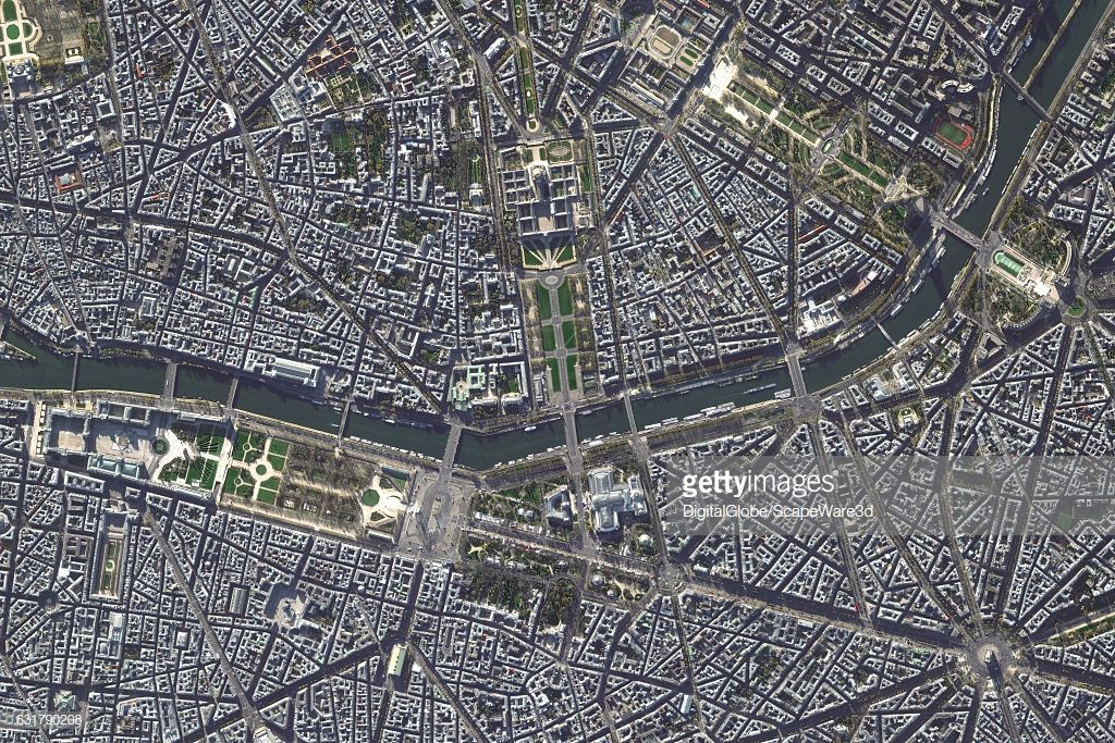 A Digitalglobe Via Getty Images Satellite Image Of Paris France Paris Images Satellite Image Satellites