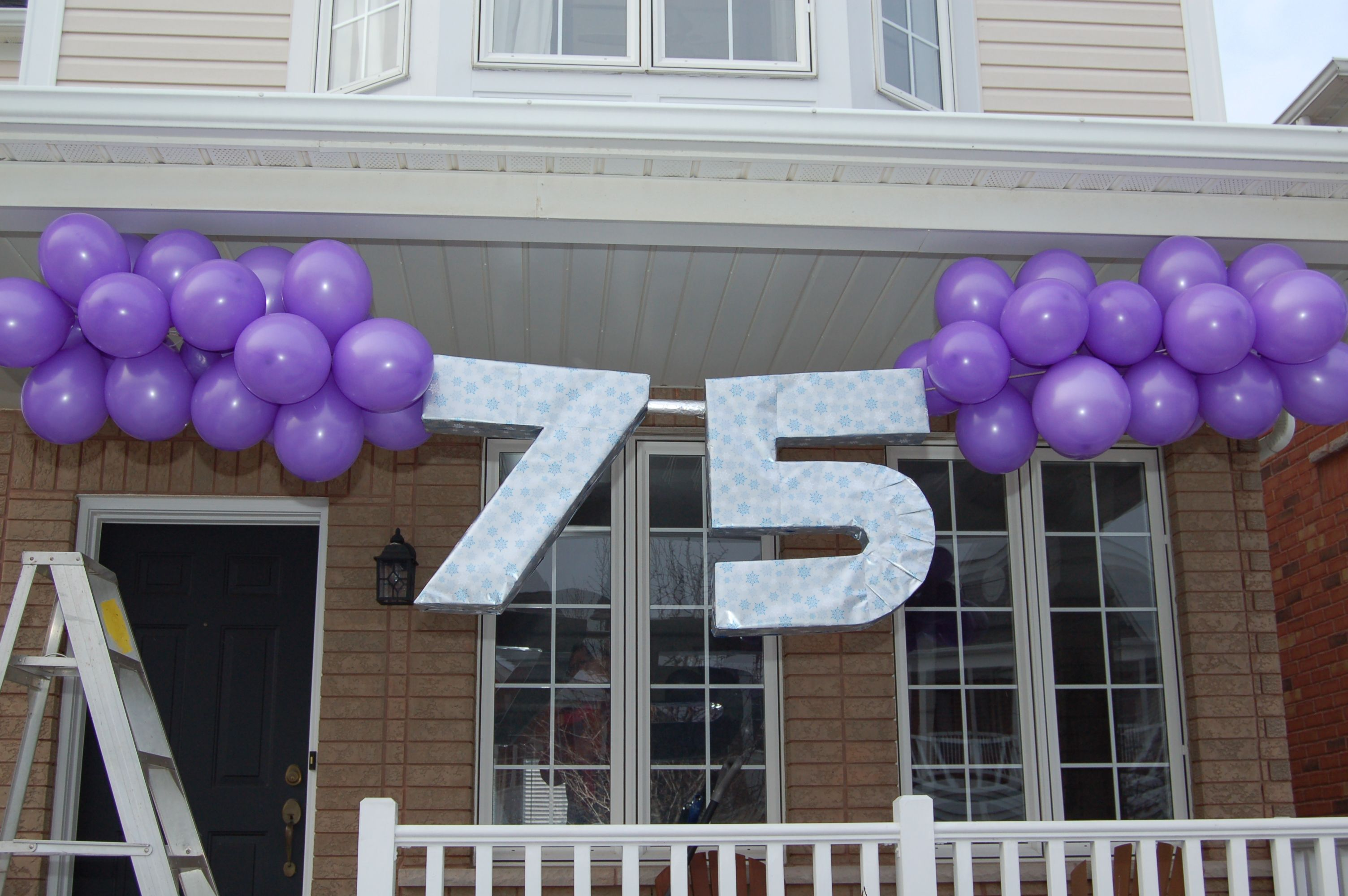 Dads 75th Birthday Banner Made With Giant Cardboard Numbersthis Would Be Cool When He Pulls Upa Few Less Balloons Of Course