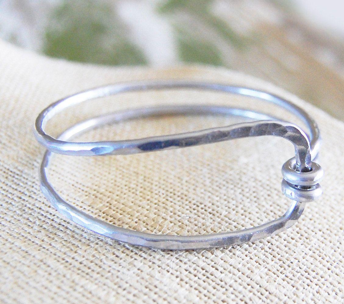 Silver Aluminum Hammered Wrap Bangle Bracelet 28