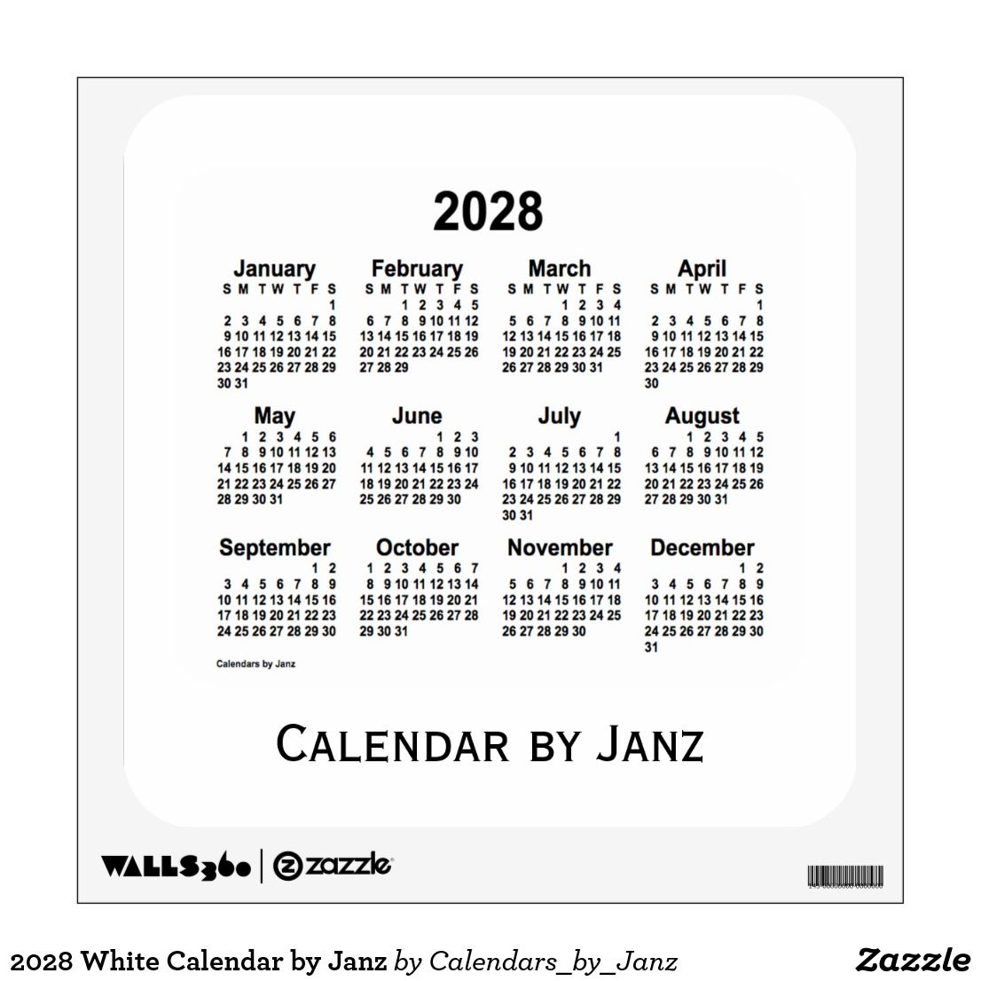 2028 White Calendar By Janz Wall Decal Zazzle Com Custom