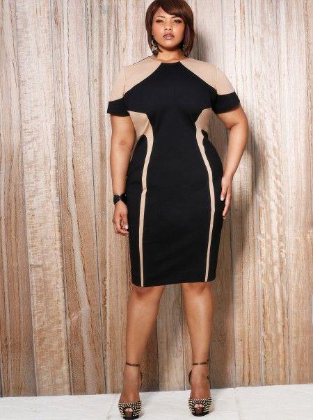 monif c plus sizes alana colorblock illusion dress | curvy fashion