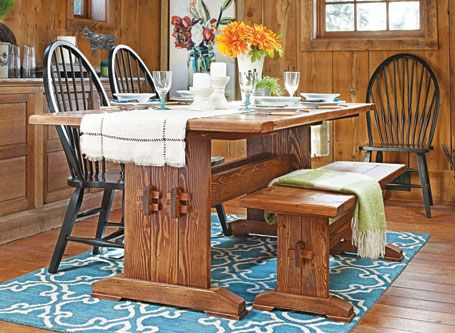 If You Prefer A Comfortable Country Look For Your Dining Room Then This Classic Farmhouse Table BenchesTrestle TablesWoodsmith PlansWoodworking