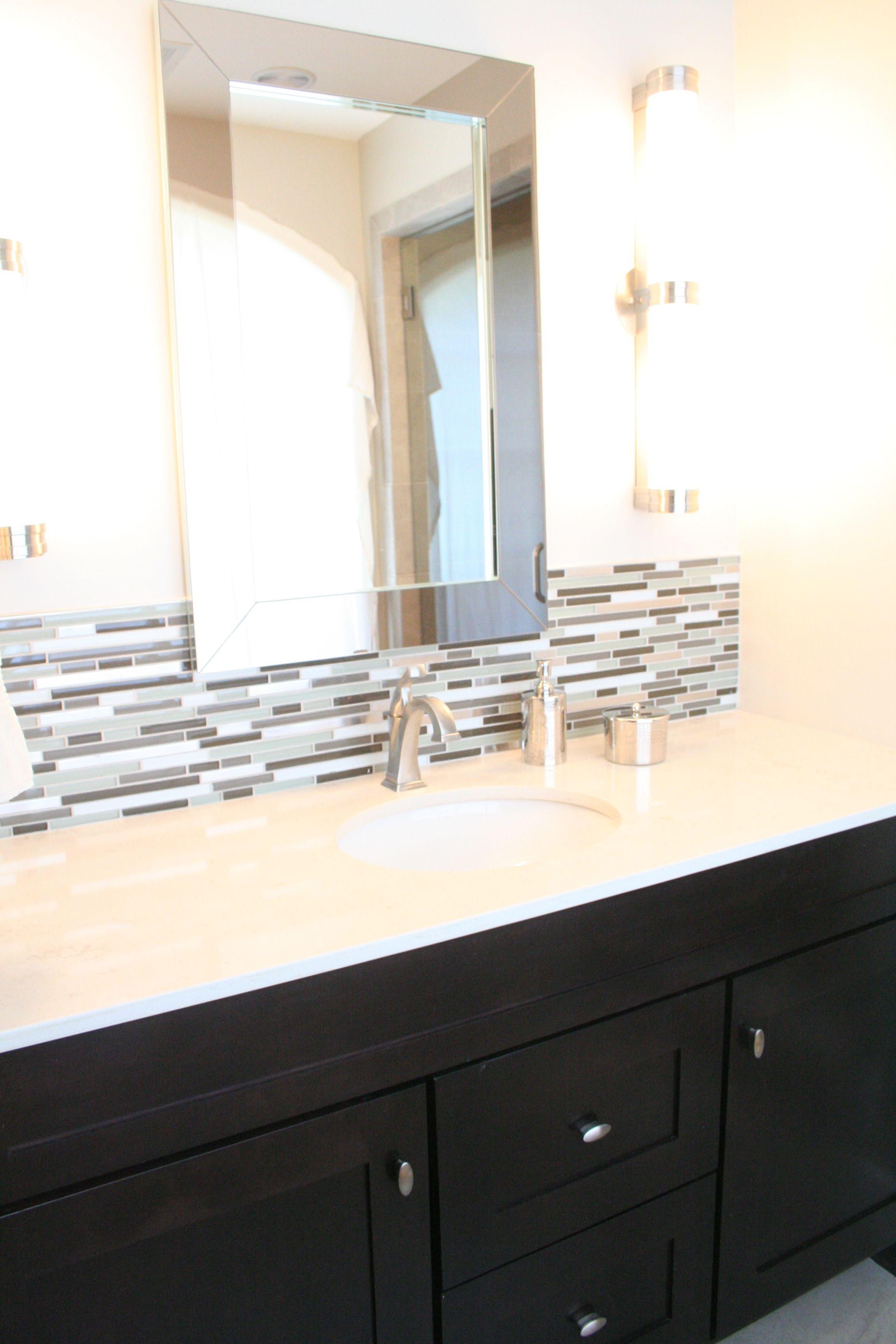 Mirror overlapping backsplash | Bathroom ideas | Bathroom ideas ...