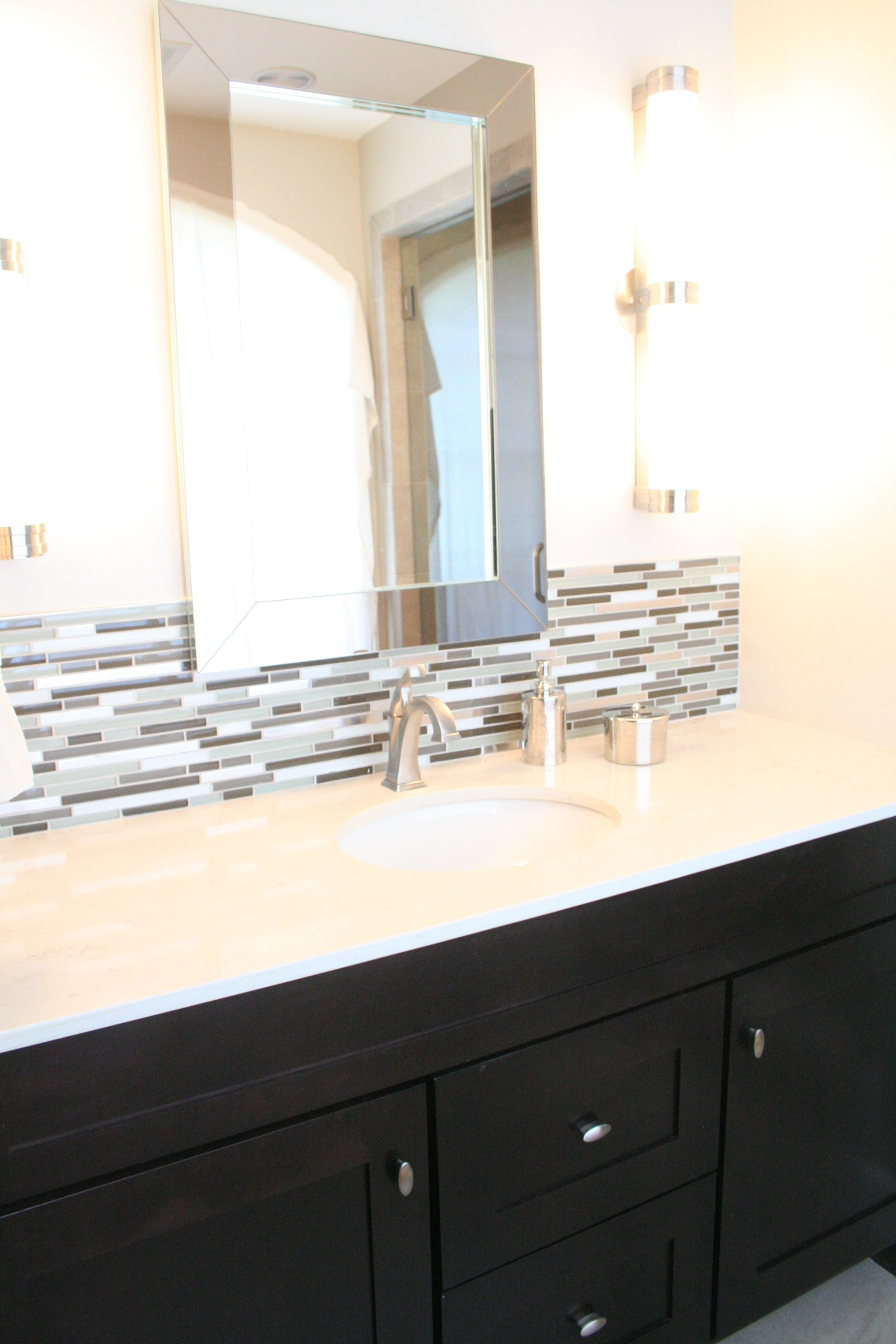 beautiful mirrors. mirror overlapping backsplash  bathroom ideas  pinterest