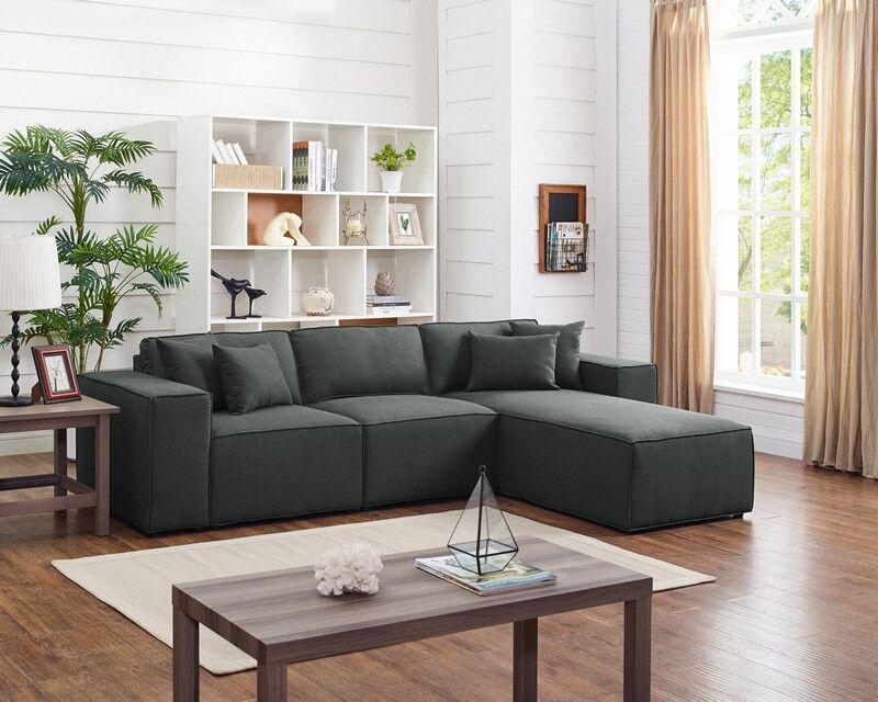 Incredible Oah D6195 3 Pc Dalton Dark Gray Linen Like Fabric Modular Spiritservingveterans Wood Chair Design Ideas Spiritservingveteransorg