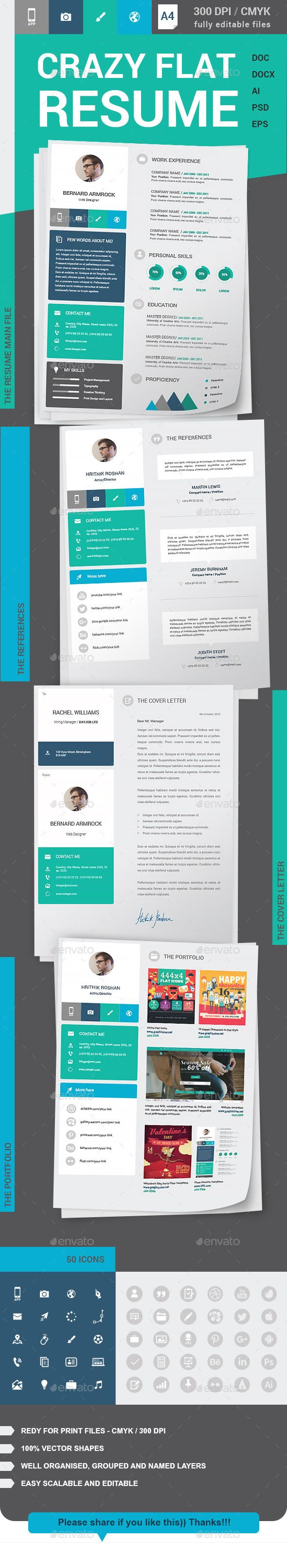 resume Flat Resume Design crazy flat resume cv template and font logo resume