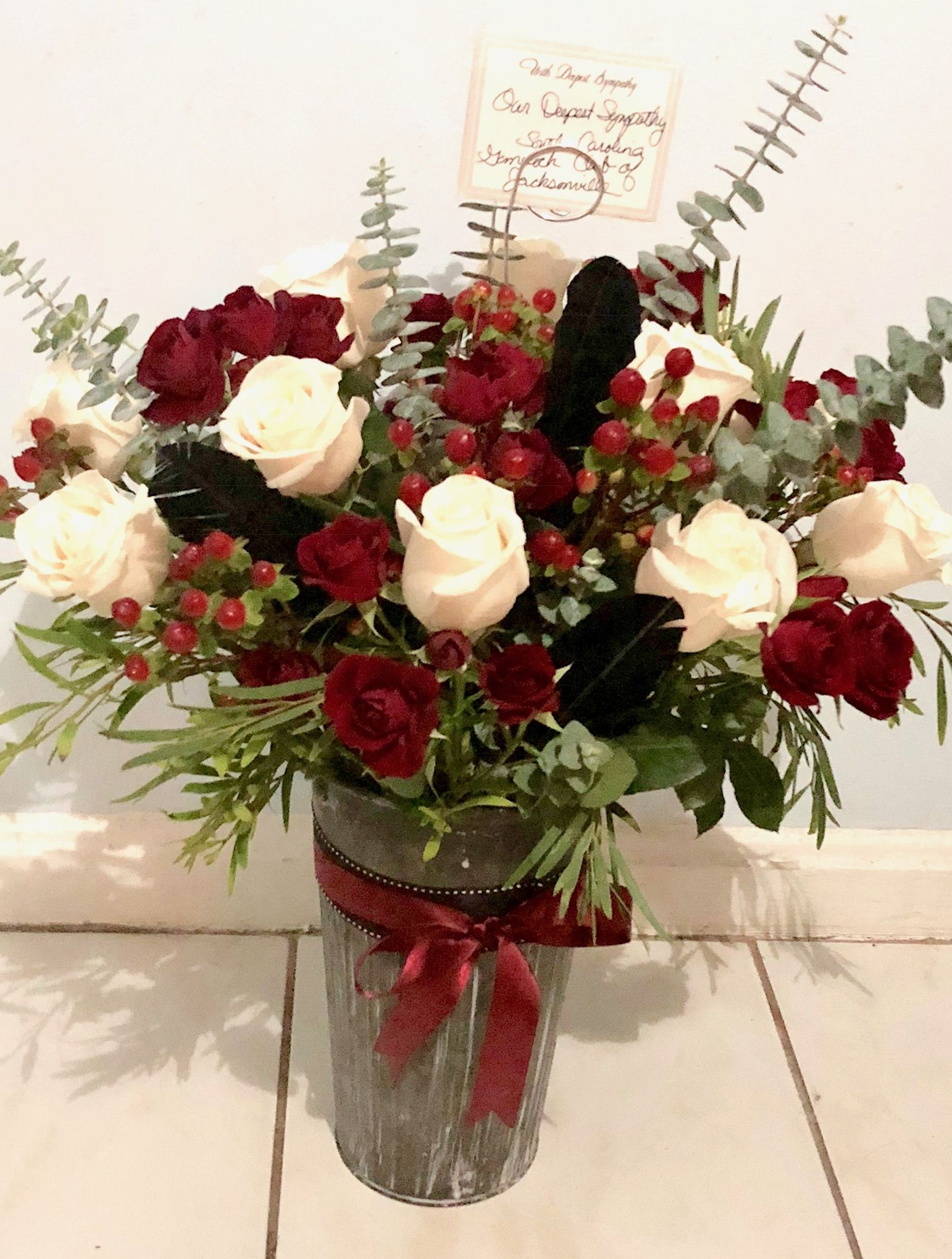 Crimson Red Black And White Rustic Arrangement With Eucalyptus And