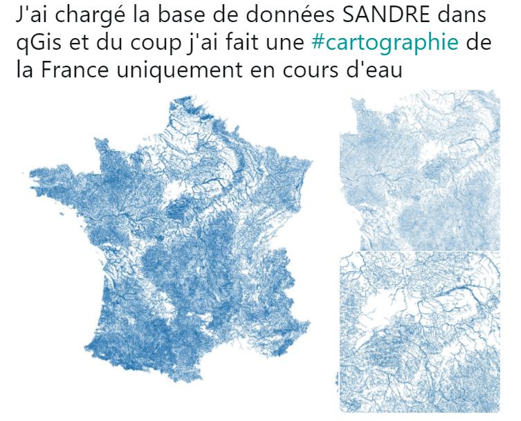 carte cours d eau france Carte de France du réseau hydrographique, cours d'eau, rivière
