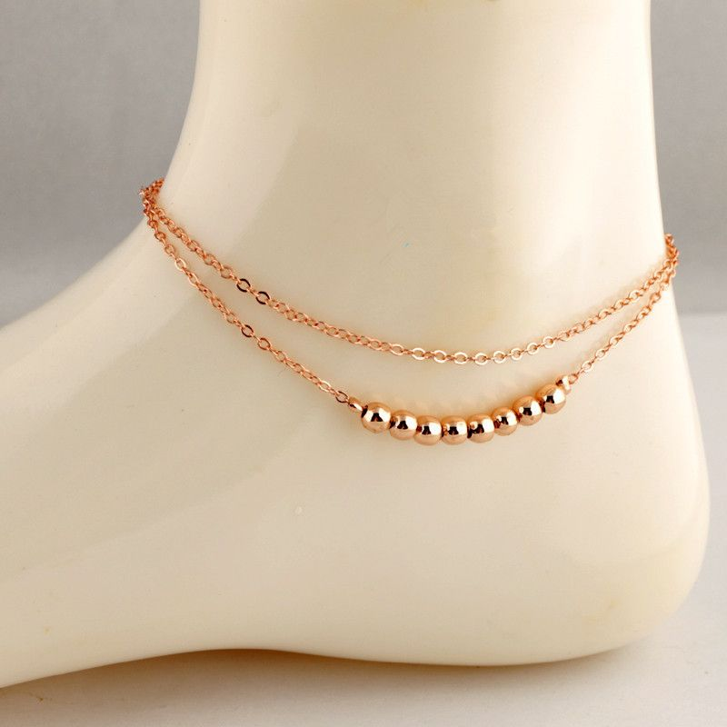 New arrivals Luxury Double gold bead Anklet for women foot chain ...