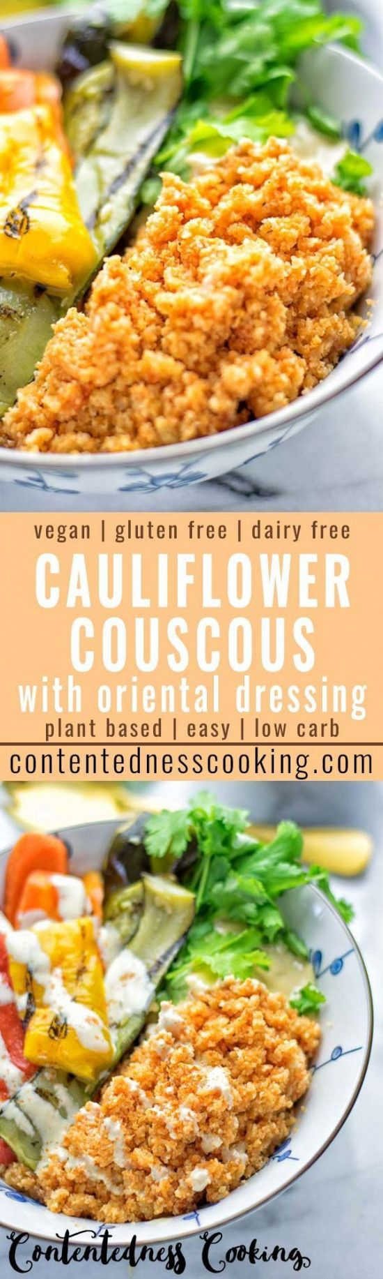 Your favorite recipe source for healthy food [Paleo, Vegan, Gluten free] This Cauliflower Couscous with Oriental Salad Dressing is naturally vegan gluten free and so delicious. Trust me you would never believe its dairy free and low carb. All coated in the most incredible and super easy to make oriental salad dressing you can ask for. Try it now for dinner lunch meal prep or work lunch. So creamy and addictive.