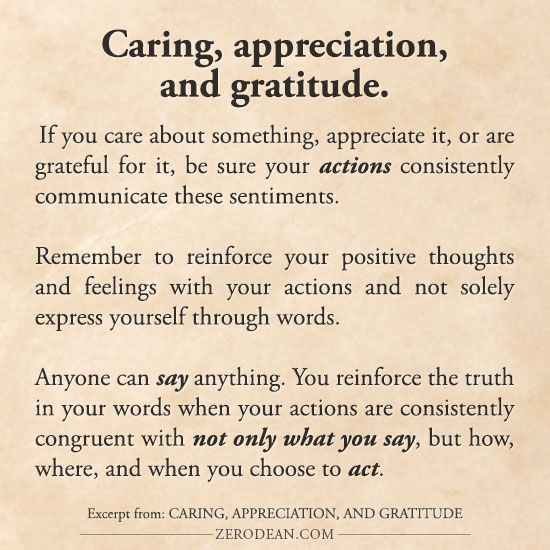 Excerpt from: Caring, appreciation, and gratitude