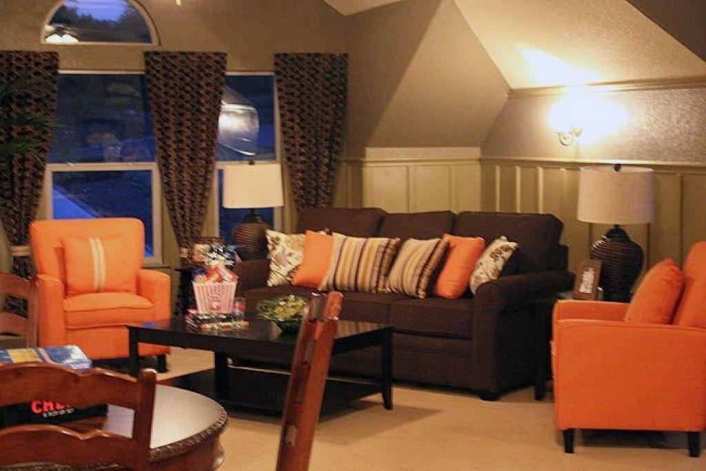 Burnt Orange And Brown Living Room Decor Living Room Orange