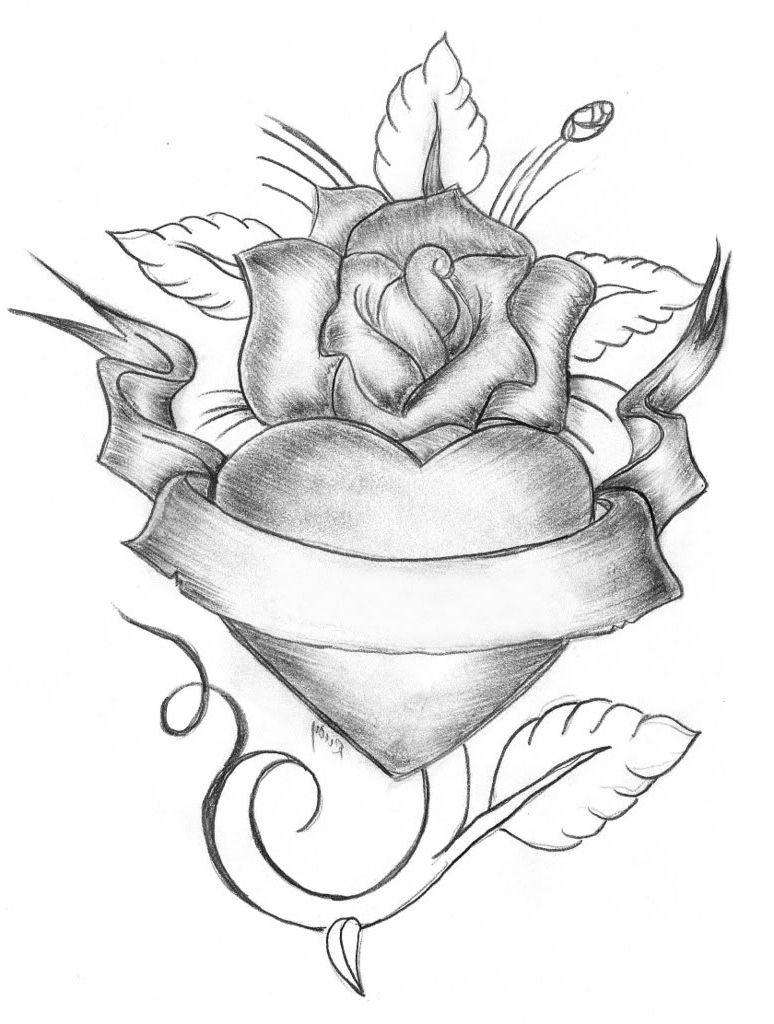 Heart Rose Drawing : heart, drawing, Image, Result, Drawing, Heart, Drawing,, Roses, Valentine