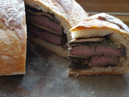 The two fat Ladies' recipie. Shooter's Sandwich. Delicious!
