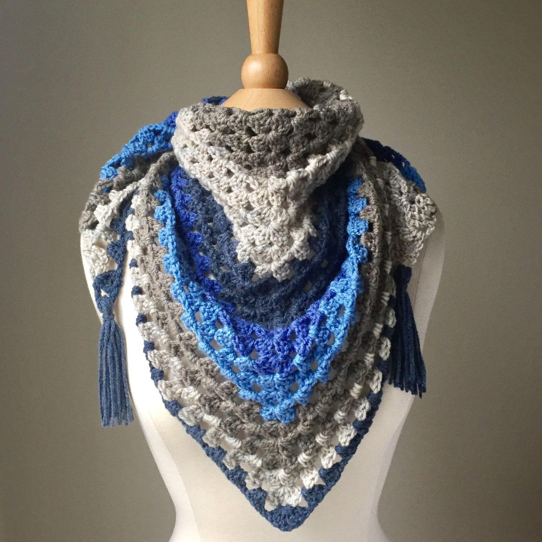 Crochet Triangle Scarf, Granny Square Scarf, Crochet Blue Scarf ...