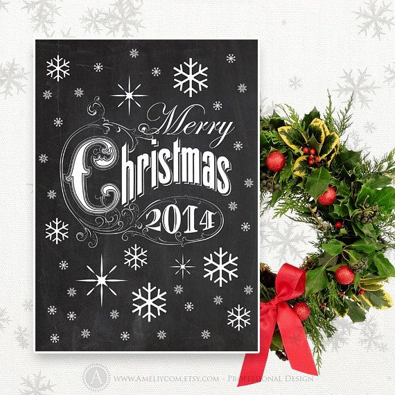 Printable Christmas Card Chalkboard INSTANT DOWNLOAD by AmeliyCom ...
