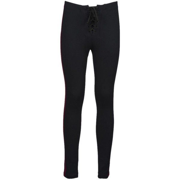 f9d75887f7a0e Kanye West Striped Football Leggings (455 CAD) ❤ liked on Polyvore  featuring pants, leggings, ink, legging pants, lace-up pants, striped pants,  striped ...